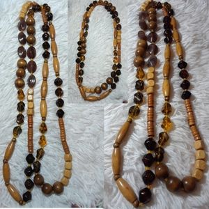Vintage Mixed Beads Long Statement Necklace